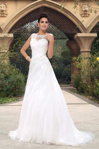 Vestido de novia largo Barco Elegante Blusa plisada Espalda Descubierta - Página 2