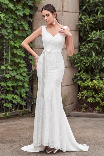 Vestido de novia Cordón Lazos Delgado Escote en V Natural Hasta el suelo - Página 1