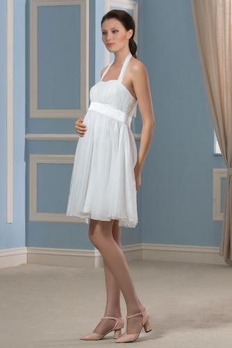 Vestido de novia Embarazadas Blusa plisada Escote halter Plisado Hasta la Rodilla - Página 2