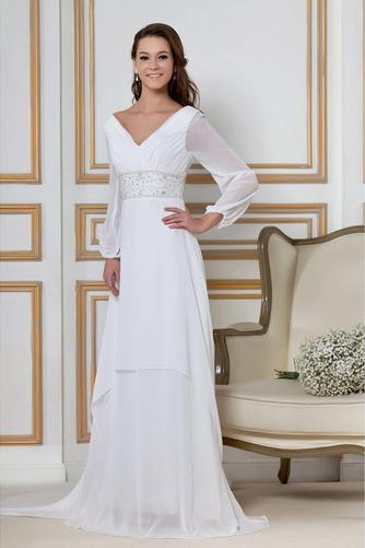 Vestido de novia Natural largo Dobladillos Corte-A Cremallera Escote en V - Página 2