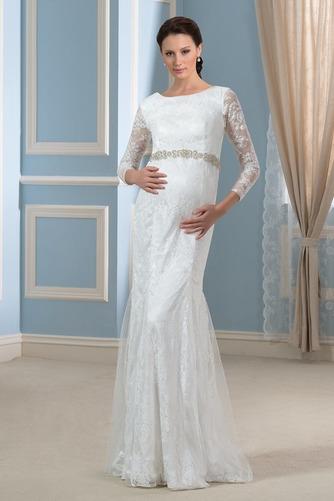 Vestido de novia Invierno Hasta el suelo Tallas grandes Cinturón de cuentas - Página 1