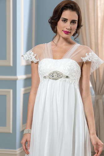 Vestido de novia Playa Manga corta Gasa Espalda Descubierta Abalorio - Página 5