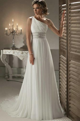 Vestido de novia Cinturón de cuentas Corte-A Gasa Natural Un sólo hombro - Página 1
