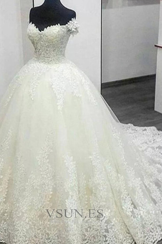 Vestido de novia Cola Barriba Satén Corte-A Manga tapada Natural Apliques - Página 2