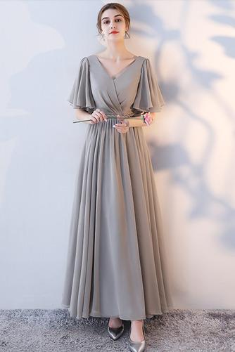Vestido de dama de honor Natural Corte-A Blusa plisada Escote en V Sin mangas - Página 13