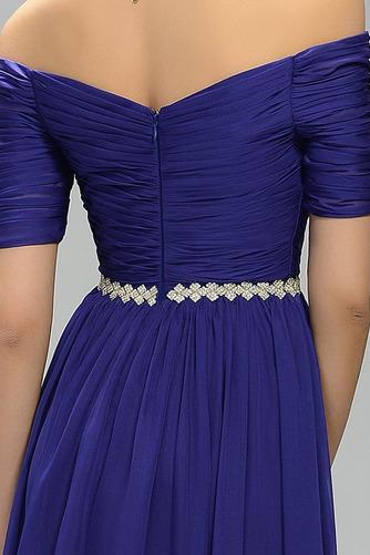 Vestido de noche Elegante Corte-A Gasa Hasta el Tobillo Natural Escote con Hombros caídos - Página 4