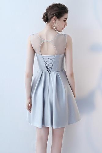 Vestido de dama de honor Cordón primavera Satén Un sólo hombro Sin mangas Bordado - Página 4