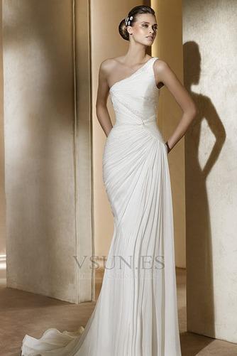 Vestido de novia Gasa Verano Sin mangas Corte Recto Hasta el suelo gris claro - Página 1