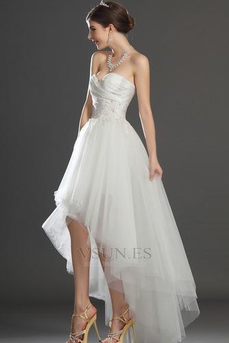 Vestido de novia Escote Corazón Apertura Frontal Asimétrico Dobladillo - Página 5