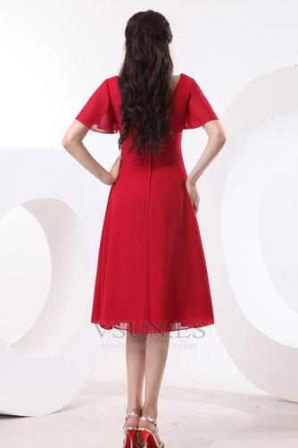 Vestido de dama de honor Escote en V Gasa adulto Natural Oscilación Hasta la Rodilla - Página 5