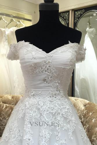 Vestido de novia Manga corta Corte-A Iglesia Falta Abalorio Escote con Hombros caídos - Página 3