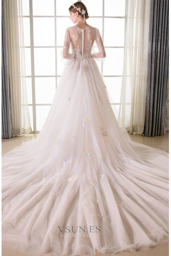 Vestido de novia Sala largo Barco Manga larga tul Natural - Página 4