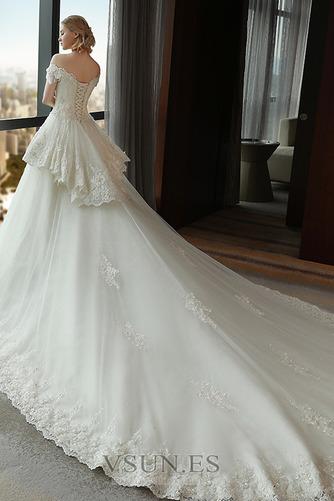 Vestido de novia Satén Escote con Hombros caídos Sala primavera Manga corta - Página 2