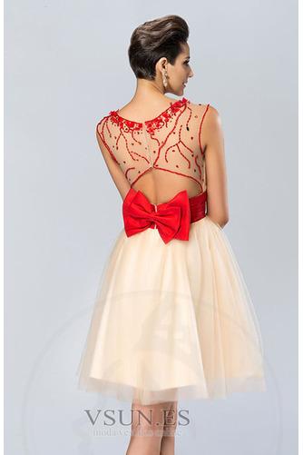 Vestido de graduacion Arco Acentuado Abalorio Verano Pura espalda Satén Corto - Página 2