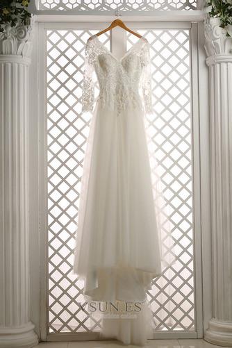 Vestido de novia Cremallera Mangas Illusion Elegante tul Apliques Corte-A - Página 4
