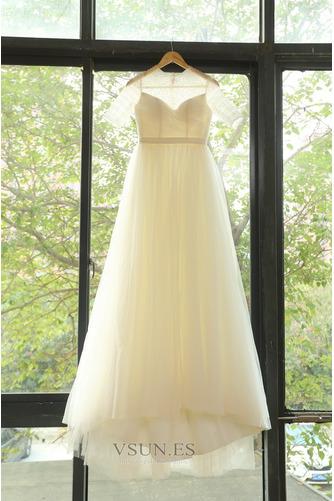 Vestido de novia Drapeado Natural primavera Corte-A Joya Cremallera - Página 5