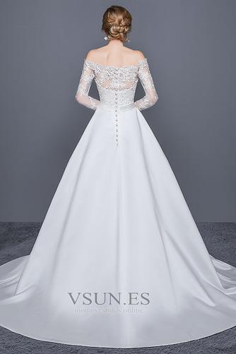 Vestido de novia Escote con Hombros caídos Cremallera Corte-A Iglesia - Página 2