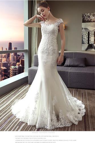 Vestido de novia Corte Sirena Capa de encaje largo Escote con Hombros caídos - Página 4