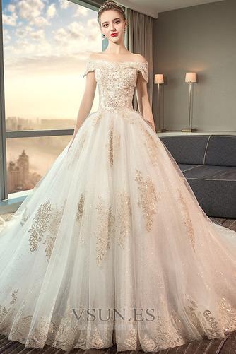 Vestido de novia largo Reloj de Arena Sala Apliques Cordón Invierno - Página 1