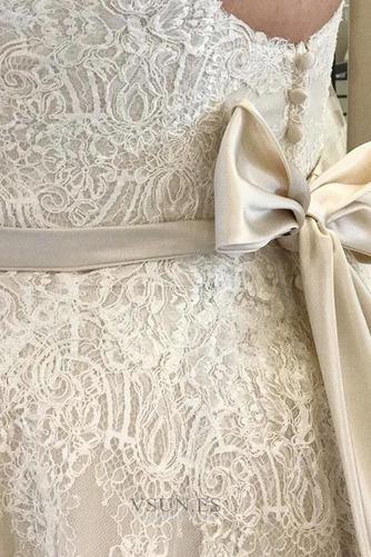 Vestido de novia Sin mangas Reloj de Arena Encaje Cremallera Fuera de casa - Página 3