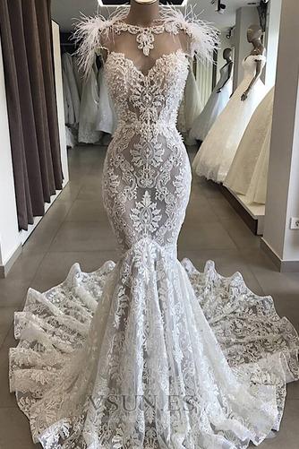 Vestido de novia Playa Drapeado Cremallera Joya Corte Sirena tul - Página 1
