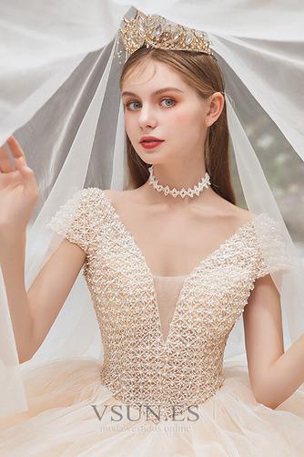 Vestido de novia Formal Cordón Corte-A Escote en V Capa Multi Cola Capilla - Página 6