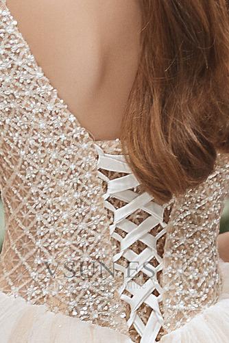 Vestido de novia Formal Cordón Corte-A Escote en V Capa Multi Cola Capilla - Página 7