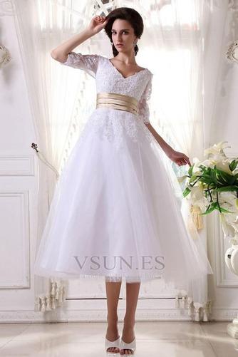Vestido de novia Fuera de casa La mitad de manga Cremallera tul Natural - Página 4