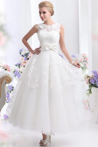 Vestido de novia Hasta el Tobillo Lazos tul Espalda medio descubierto - Página 1