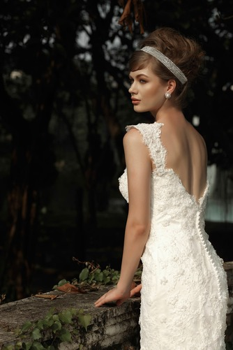 Vestido de novia Corte Sirena Encaje Cremallera Flores Natural Sin mangas - Página 4