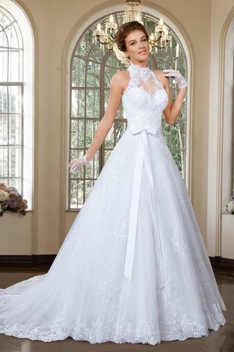 Vestido de novia Apliques Sin mangas primavera Alto cubierto Corte-A - Página 3