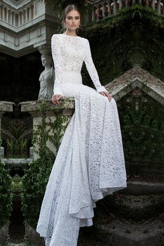 Vestido de novia Encaje Encaje Corte Sirena Cremallera Otoño Natural - Página 1