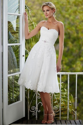 Vestido de novia Glamouroso Botón Verano Bola Hasta la Rodilla Sin mangas - Página 1
