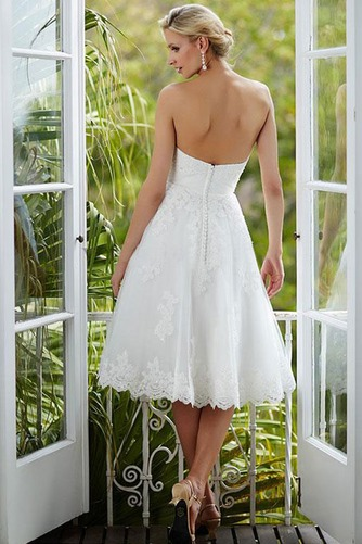 Vestido de novia Glamouroso Botón Verano Bola Hasta la Rodilla Sin mangas - Página 2