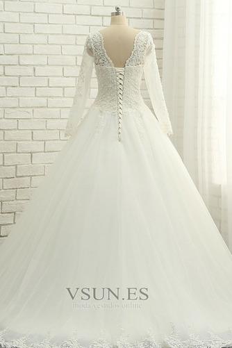 Vestido de novia Cordón Natural Encaje Manga larga Hasta el suelo Verano - Página 2