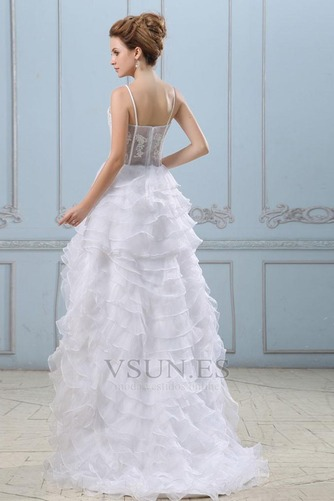 Vestido de novia Sin mangas Alto Bajo Escote de Tirantes Espaguetis - Página 4