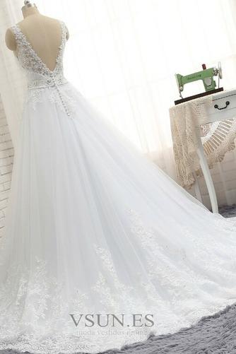 Vestido de novia Natural Escote en V Corte-A Falta Sin mangas largo - Página 4