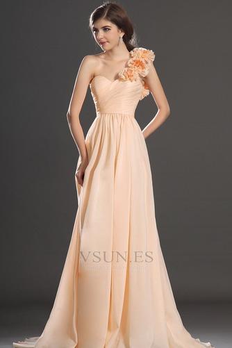 Vestido de fiesta Elegante Corte Recto Un sólo hombro Un tirante con flor - Página 3