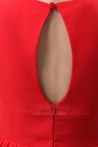 Vestido de dama de honor Volantes Adorno Escote en V Rojo Oscilación Hasta la Rodilla - Página 7