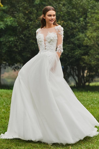 Vestido de novia Cola Barriba Barco tul Sin mangas Corte-A Pura espalda - Página 3