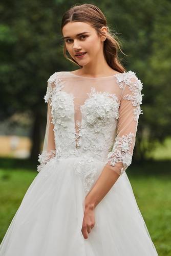 Vestido de novia Cola Barriba Barco tul Sin mangas Corte-A Pura espalda - Página 5