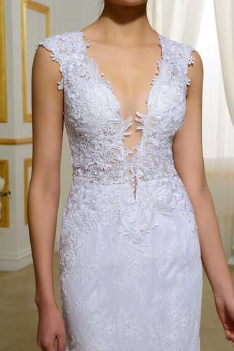Vestido de novia Natural Elegante Corte Sirena Escote en V Drapeado - Página 4