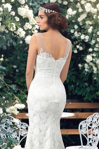 Vestido de novia Encaje Barco Natural Corte Recto Sin mangas Drapeado - Página 5