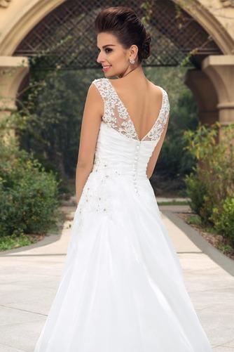 Vestido de novia largo Barco Elegante Blusa plisada Espalda Descubierta - Página 5