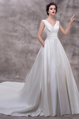 Vestido de novia Elegante Escote en V Dobladillos Corte-A largo Satén - Página 1