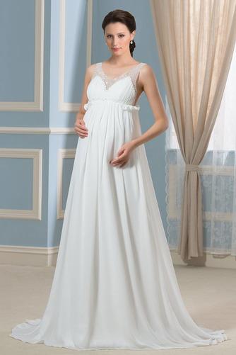 Vestido de novia Imperio primavera Escote en V Gasa Espalda Descubierta - Página 1