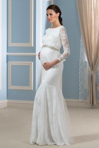 Vestido de novia Invierno Hasta el suelo Tallas grandes Cinturón de cuentas - Página 3