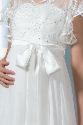 Vestido de novia Asimètrico Escote en V Fuera de casa Fajas Asimétrico Dobladillo - Página 5
