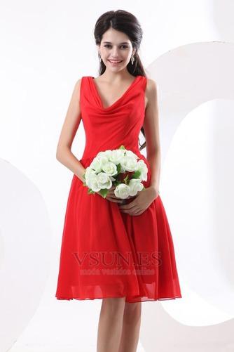 Vestido de dama de honor Volantes Adorno Escote en V Rojo Oscilación Hasta la Rodilla - Página 5