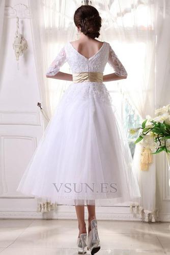 Vestido de novia Fuera de casa La mitad de manga Cremallera tul Natural - Página 8